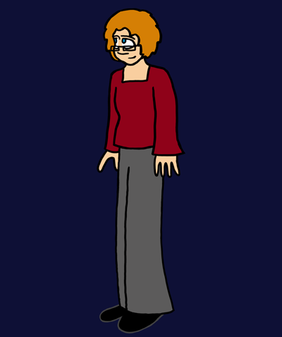 A middle-aged woman with short ginger hair, blue eyes, and fair skin stands in place, smiling. She is wearing glasses, a dark red long-sleeved shirt, and grey pants.