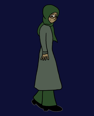 A young woman walks along, looking sidelong at the viewer. Her hair is hidden beneath a dark green headscarf; she's also wearing a light green dress over dark green trousers. She has glasses. Her eyes are dark brown and her skin brown.