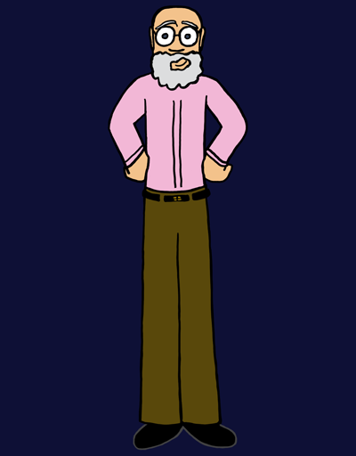 A man in his late sixties stands with his hands on his hips. He's bald but has a curly grey beard. His eyes are grey and his skin fair, and he's wearing glasses, a pink shirt, and brown trousers. He is smiling brightly.